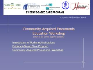 Community-Acquired Pneumonia Education Workshop  (click to go to the desired section)