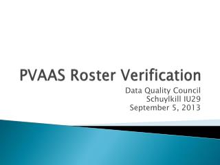 PVAAS  Roster Verification