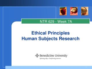 Ethical Principles  Human Subjects Research