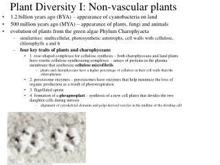 Plant Diversity I: Non-vascular plants