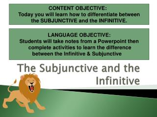 The Subjunctive and the Infinitive