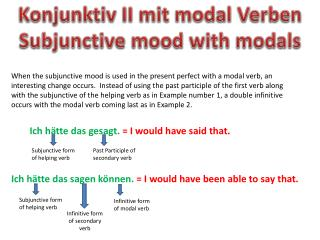 Konjunktiv  II  mit  modal  Verben Subjunctive mood with modals