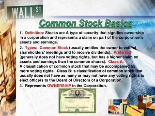 Common Stock Basics