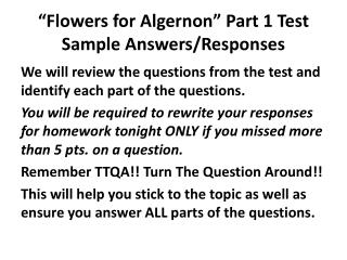 """Flowers for Algernon"" Part 1 Test Sample Answers/Responses"