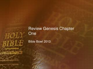 Review Genesis Chapter One