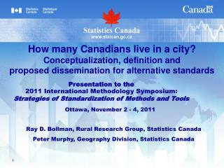 Ray D. Bollman, Rural Research Group, Statistics  Canada