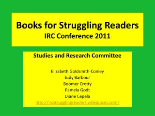 Books for Struggling Readers IRC Conference 2011