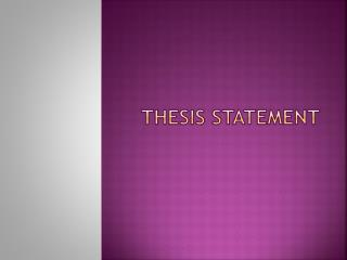 Thesis Statement