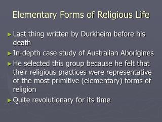 Elementary Forms of Religious Life