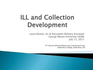 ILL and Collection Development