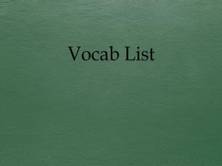 Vocab List