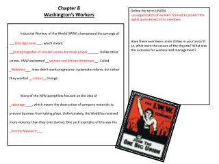 Chapter 8 Washington's Workers