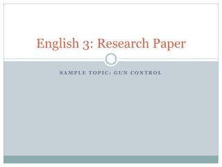 English 3: Research Paper