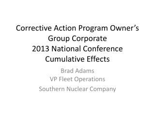 Corrective Action Program Owner's Group Corporate 2013 National Conference Cumulative Effects
