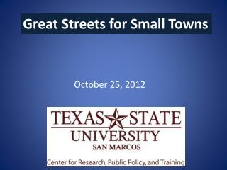 Great Streets for Small Towns