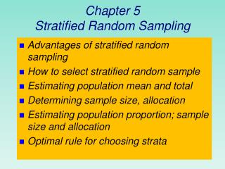 Chapter 5 Stratified Random Sampling