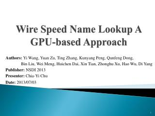 Wire  Speed Name Lookup A GPU-based Approach