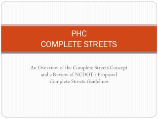 PHC COMPLETE STREETS