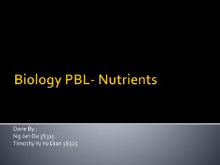 Biology PBL- Nutrients