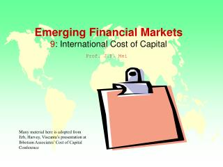 Emerging Financial Markets 9 : International Cost of Capital