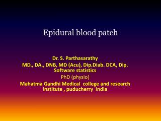 Epidural blood  patch