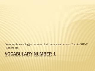 Vocabulary Number 1
