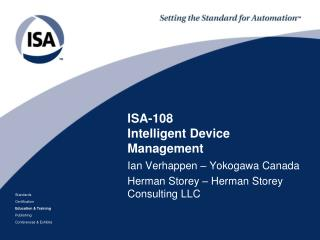 ISA-108 Intelligent Device Management