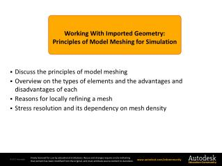 Working With Imported Geometry: Principles of Model Meshing for Simulation