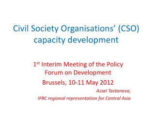 Civil Society Organisations' (CSO)  capacity development