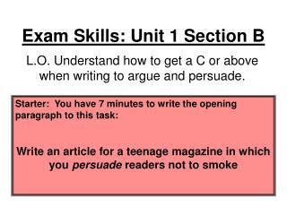 Exam Skills: Unit 1 Section B