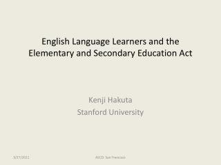 English Language Learners and the Elementary and Secondary Education Act
