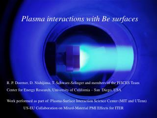 Plasma interactions with Be surfaces