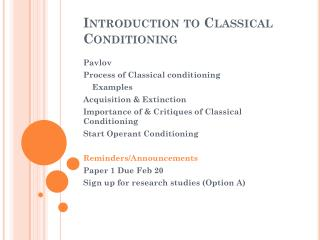 Introduction to Classical Conditioning