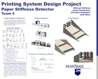 Printing System Design Project Paper Stiffness Detector Team 4