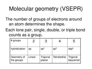 Molecular geometry (VSEPR)