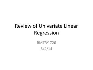 Review of Univariate Linear Regression