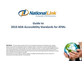 Guide to  2010 ADA Accessibility Standards for ATMs