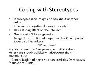 Coping with Stereotypes