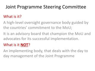 Joint Programme Steering Committee