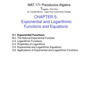 CHAPTER 5:   Exponential and Logarithmic Functions and Equations