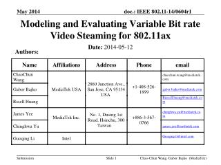 Modeling and Evaluating Variable Bit rate Video Steaming for 802.11ax