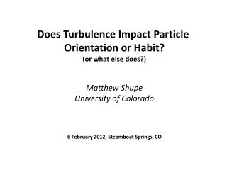 Does Turbulence Impact Particle  Orientation or Habit ? (or what else does?)