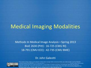 Medical Imaging Modalities