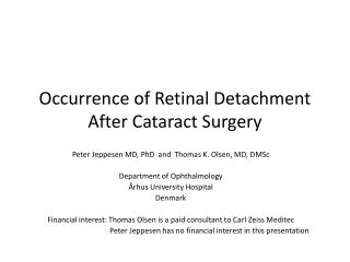 Occurrence of Retinal Detachment After Cataract Surgery