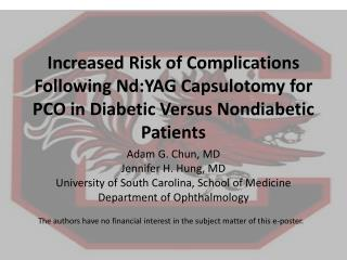Increased Risk of Complications Following Nd:YAG Capsulotomy for PCO in Diabetic Versus Nondiabetic Patients
