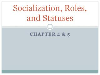 Socialization, Roles, and Statuses