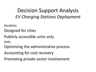 Decision Support Analysis  EV Charging Stations Deployment