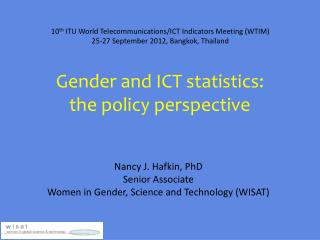 Gender and ICT statistics:  the policy perspective