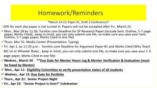 Homework/Reminders