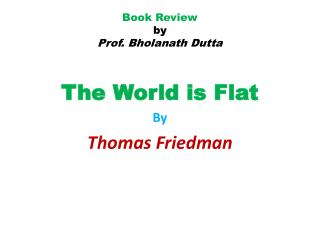 Book Review by Prof. Bholanath Dutta